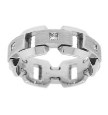 0.22ctw MENS PRINCESS CUT DIAMOND RING 14K WHITE GOLD