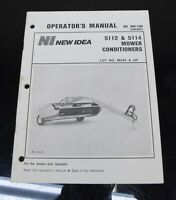 AVCO New Idea 5112 & 5114 Mower Conditioners Owners Operator's Manual MD-109