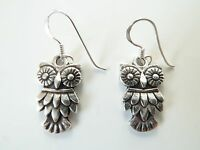 925 Sterling Silver Owl Bird Dropper Earrings Vintage Antique New