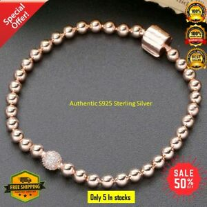 Authentic 925 Sterling Silver Moments Beads & Pavé Bracelet Rose NEW Handmade Pa