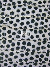 """DALMATIAN RUFFLE POLY SPANDEX FABRIC - White/Black Dots - 52/54"""" WIDTH SOLD BTY"""