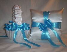 WHITE SATIN / TURQUOISE BLUE TRIM FLOWER GIRL BASKET & RING BEARER PILLOW #1