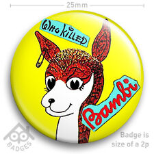 """The Sex Pistols WHO KILLED BAMBI Record Cover JAMIE REID - NEW - 25mm 1"""" Badge"""