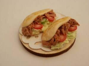 Dolls house food: Two Doner kebabs   -By Fran