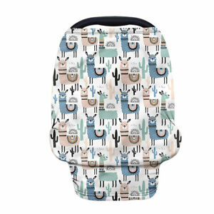 Cartoon Animals Nursing Scarf Baby Car Seat Covers Stretchy Blankets for Carseat