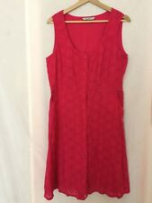Ladies cotton lace pink summer sleeveless button through dress size 14 EXC. CON