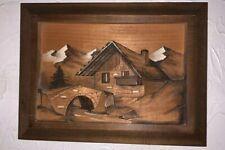 Tableau en bois Sculpté Paysages Montagne Signé Hauler