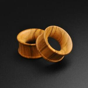 Wooden Flesh Tunnels Ear Gauges | Olive Wood Double Flare Concave Tunnel
