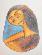 Abstract cubist woman portrait pastel painting signed