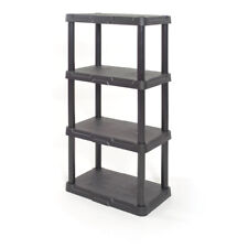 4-Tier Heavy-Duty Black Plastic Organizing Freestanding Garage Shelving Unit,NEW