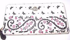 Coach Chalk Pink Butterfly Bandana Zip Around Accordion Wallet F59063 $250