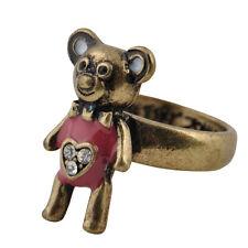 Bronce del estilo de la vendimia y anillo rosado del oso de peluche