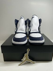 "Air Jordan 1 Retro High OG PS Size 2Y ""Midnight Navy"" Basketball Shoes"