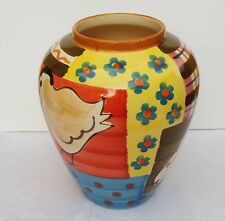 Large Ceramic Vase Pot - Vibrant Colours and Patterns Animals 27cm Made in Italy
