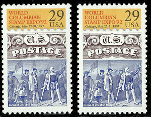 "Scott 2616 - Columbian Stamp Expo Issue , One with ""Mzy"" Plate Flaw Variety"