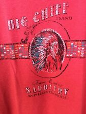 PANDHANDLE SLIM Indian Chief Graphic Tee Western BOHO Cowgirl SZ L GYPSSY Hot!!!