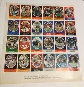 1972 Sunoco Football Stamps 24 stamp panel -- Dan Dierdorf & Cliff Harris HOF