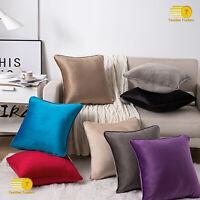 "Pair of Velvet Luxury Cushion Piped Edges Plain Plush Sofa Pillows Covers 18x18"""