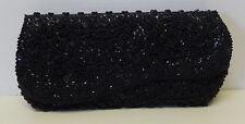 Vintage La Regale Black Beaded Sequins Envelope Evening Clutch Handbag Purse