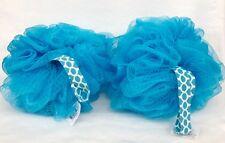 1 Bath & Body Works Blue Polka Dot Strap Sponge Loofah Pouf Cute Puff Bubble