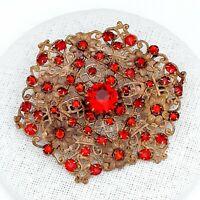 Large Vintage CZECH Art Deco Red Pressed Metal Filigree Brooch Pin