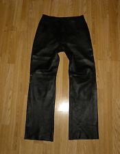 Super  Black Genuine Leather WOODLANDS Zip Straight Leg Biker Pants Size 12 / 38