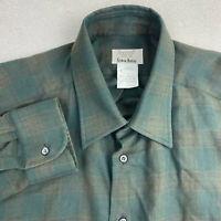 Bagutta Neiman Marcus Button Up Shirt Mens 44 17.5 Long Sleeve Green Brown