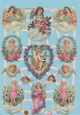 Gaufrettes,Feuilles chromos,Ferraille Ange/Elfes avec des fleurs,