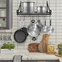 Wall Mount Pot Pan Rack Shelf Kitchen Utensil Holder Organizer Hanger w/ Hooks