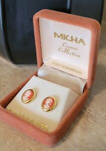 MICHA 24 Kt Gold Plated Cameo Vintage Earrings - never worn - BERWICK