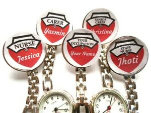Nurse Watch Clip On Brooch PERSONALISED NAME OCCUPATION Red Heart Carer Student