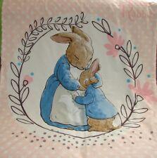 Peter Rabbit Pink Cotton Top White Minkee Cot Blanket Handmade