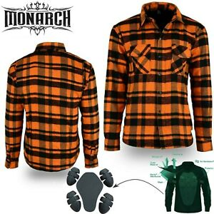 Motorcycle Bike Men Protective Flannel Armor Shirt made lined with Kevlar Orange