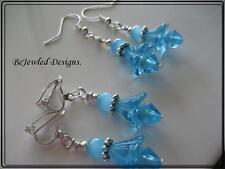 Pretty Blue Belle Dainty Earrings Pierced or Clip on your choice