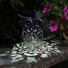 Scroll Owl Silhouette Design metal Solar Powered Bright LED