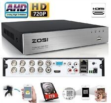 Zosi 8Ch 720P AHD DVR 1080P HDMI Network P2P Mobile App for Security System+2TB