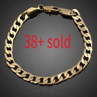 18K Yellow Gold Filled Women Men Unisex Bracelet Curb Chain Link Bangle Jewelry