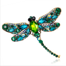 US Womens Rhinestone Crystal Dragonfly Brooch Pendant Scarf Pin Accessories Gift