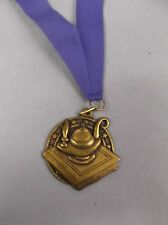 """high relief gold lamp of knowledge medal 2"""" size w/drape blue award trophy"""