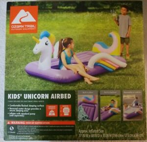 "Unicorn Airbed Kids Ozark Trail 4' 7"" Length Purple Bed Brand New / Sealed Box."