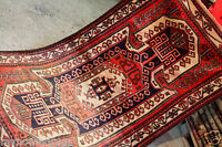 Primitive Vintage 1960-1970s Natural Dyes 3'9''x7' Wool Pile Rug Bergamo Region