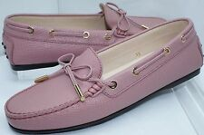 New Tod's Shoes Pink Ballet Flats Lace Moccasin Size 39 Womens Leather Slip On