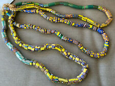 """Old African Italian Trade Bead Necklace 3 Strands 72"""" 179 Beads #19 Millefiori"""