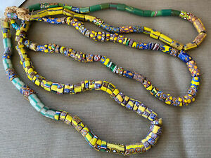 "Old African Italian Trade Bead Necklace 3 Strands 72"" 179 Beads #19 Millefiori"