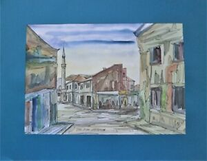 Watercolor painting, original & signed by Talc, Tuzla, Bosnia 1999