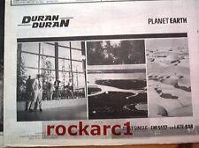 "DURAN DURAN Planet Earth 1981 UK Press ADVERT 12x8"""