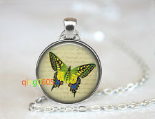 Green Monarch Butterfly glass dome Tibet silver Chain Pendant Necklace wholesale