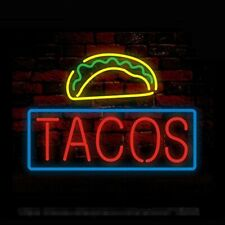 "New Tacos Open Real glass Neon Sign 32""x24"" Beer Lamp Light"