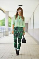 NEW ZARA GREEN PALM TREE TROPICAL PRINTED TROUSERS SZ S M L REF BLOGGERS FAV
