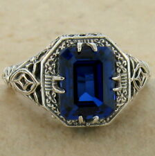 Antique Deco Style 925 Sterling Silver Syn Sapphire Ring Size 10, #910